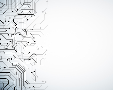 Creative white circuit wallpaper with copy space. Technology and computing concept