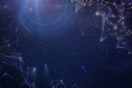 Abstract digital polygonal space sky texture. 3D Rendering