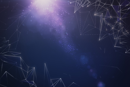 Abstract digital polygonal space sky backdrop. 3D Rendering