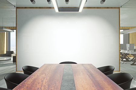 Modern meeting room interior with empty billboard and furniture. Presentation and seminar concept. Mock up, 3D Rendering