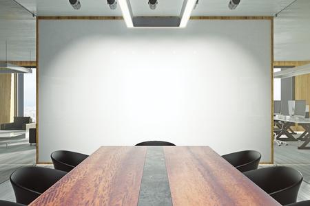Nowoczesne wnętrze sali konferencyjnej z pustym billboardem i meblami. Koncepcja prezentacji i seminarium. Makieta, renderowanie 3D