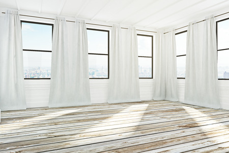 Bright spacious empty unfurnished office interior with city view, curtains and sunlight. 3D Rendering  Stock Photo