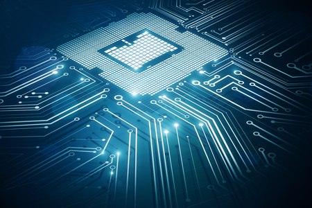 Creative glowing circuit chip background. 3D Rendering Foto de archivo