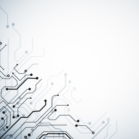 Creative white circuit backdrop with copy space. Technology and computing concept