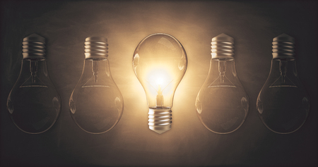 Glowing lamp on dark wall background. Idea and innovation concept. 3D Rendering  Stok Fotoğraf
