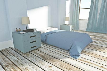 New bedroom interior with sunlight. 3D Rendering  Stock Photo