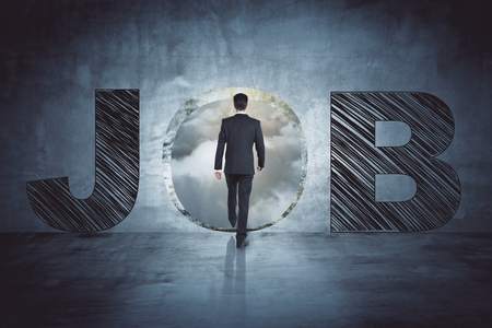 Young businessman looking for a job. Creative backdrop. 3D Rendering