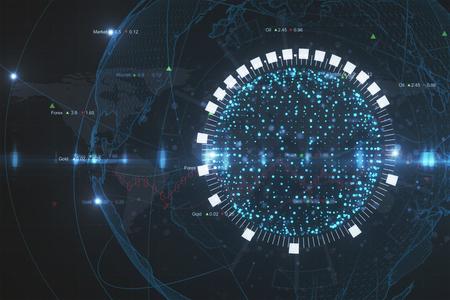 Glowing blue globe background. Global business concept. 3D Rendering Banco de Imagens - 98633288