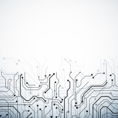 コピースペースを持つ創造的な白い回路の背景。テクノロジーとコンピューティングの概念