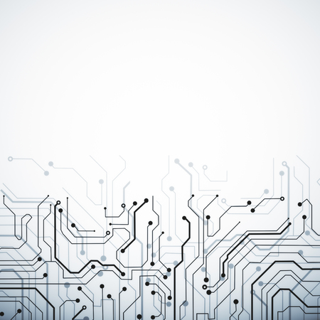 Creative white circuit background with copy space. Technology and computing concept Foto de archivo