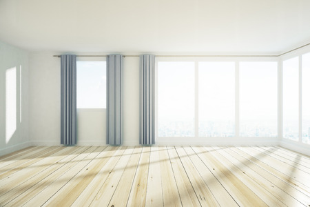 New spacious empty unfurnished office interior with city view, curtains and sunlight. 3D Rendering  Stock Photo