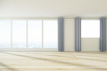 Contemporary spacious empty unfurnished office interior with city view, curtains and sunlight. 3D Rendering  Stock Photo