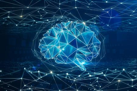 Fondo digital cerebro poligonal. Inteligencia artificial y concepto mental. Renderizado 3D