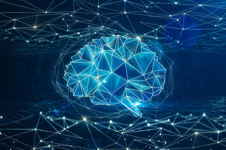 Digital polygonal brain background. Artificial intelligence and mind concept. 3D Rendering  Stockfoto