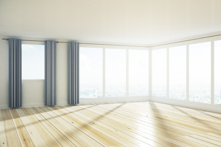 Minimalistic spacious empty unfurnished office interior with city view, curtains and sunlight. 3D Rendering