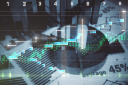 Abstract blurry financial report background. Forex and investment concept. Double exposure