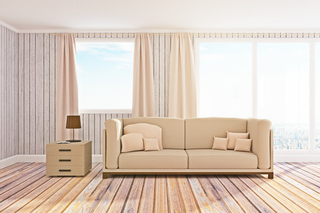Contemporary living room interior with panoramic city view, daylight and furniture. 3D Rendering  Stock Photo
