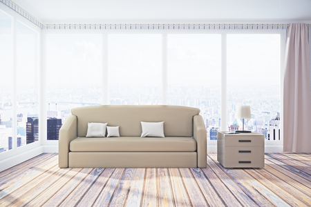 Modern living room interior with panoramic city view, daylight and furniture. 3D Rendering