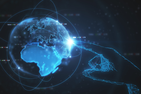 Hand pointing at abstract glowing earth. International business concept. 3D Rendering  Banco de Imagens