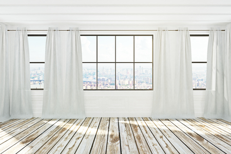 White spacious empty unfurnished office interior with city view, curtains and sunlight. 3D Rendering