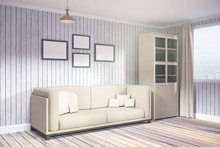 Side view of modern living room interior with city, view, furniture and empty poster on wall. Mock up, 3D Rendering