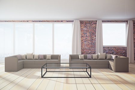 New living room interior with panoramic city view, daylight and furniture. 3D Rendering
