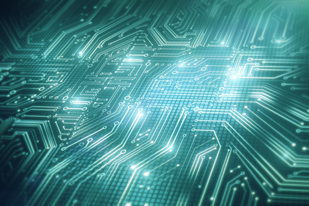 Abstract blue circuit backdrop. Hardware, chip and computing concept. 3D Rendering