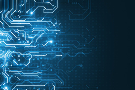 Abstract glowing blue circuit wallpaper. Chip, computing, hardware and technology concept. 3D Rendering
