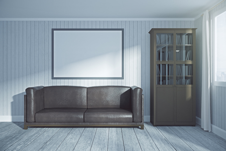 Light living room interior with blank poster on wall and city view. Mock up, 3D Rendering  Stock Photo