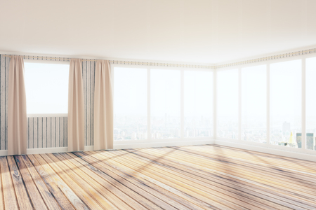 Light spacious unfurnished office interior with panoramic city view and sunlight. 3D Rendering