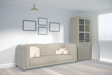 Side view of modern living room interior with city, view, furniture and empty billboard on wall. Mock up, 3D Rendering
