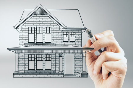 Hand drawing creative house sketch on concrete wall background. Real estate and ownership concept 스톡 콘텐츠 - 99796975