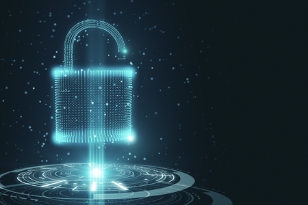 Abstract glowing padlock on dark background. Web security and protection concept. 3D Rendering