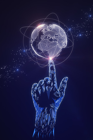 Digital polygonal hand pointing at glowing globe. Global business and cyberspace concept. 3D Rendering