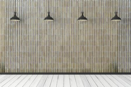 Intérieur moderne avec mur de carreaux vides et lampes. Maquette, rendu 3D Banque d'images - 99797014