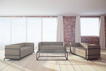 Clean living room interior with panoramic city view, daylight and furniture. 3D Rendering  Stock Photo