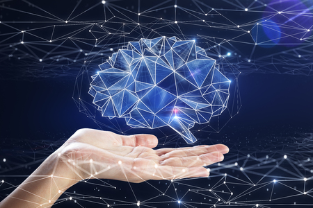 Hand holding digital polygonal brain on blue background. Artificial intelligence and medicine concept. 3D Rendering  Stockfoto