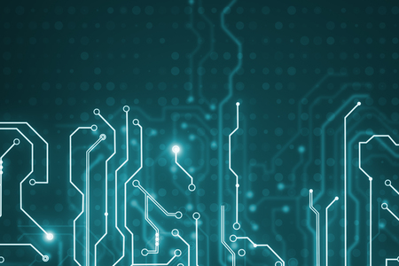 Abstract glowing blue circuit backdrop. Chip, computing, hardware and technology concept. 3D Rendering