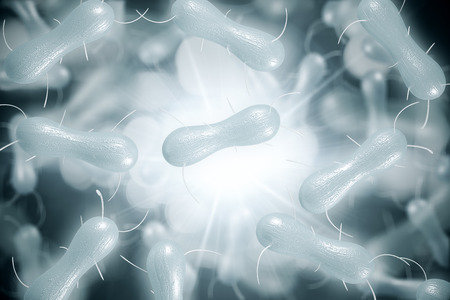 Abstract white bacteria backdrop. Medicine, science and microscope concept. 3D Rendering
