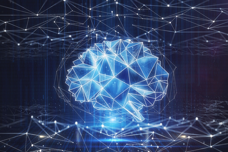 Creative polygonal brain background. AI and computing concept. 3D Rendering