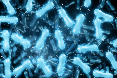 Abstract blue bacteria background. Medicine, science and microscope concept. 3D Rendering