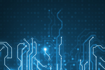 Abstract glowing blue circuit texture. Chip, computing, hardware and technology concept. 3D Rendering