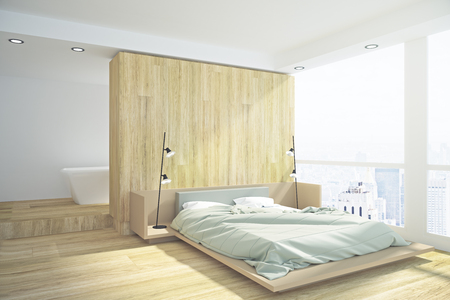 Side view of modern loft bedroom interior with copy space and city view. Mock up, 3D Rendering  Stockfoto