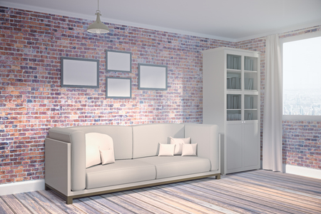 Side view of modern brick living room interior with city, view, furniture and empty poster on wall. Mock up, 3D Rendering
