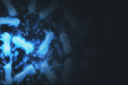 Abstract blue bacteria wallpaper. Medicine, science and microscope concept. 3D Rendering