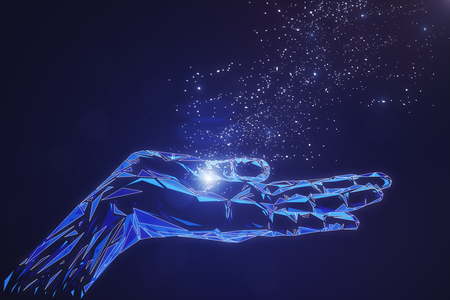 Abstract glowing polygonal hand on blue background. Cyberspace and artificial intelligence concept. 3D Rendering Standard-Bild - 100134844