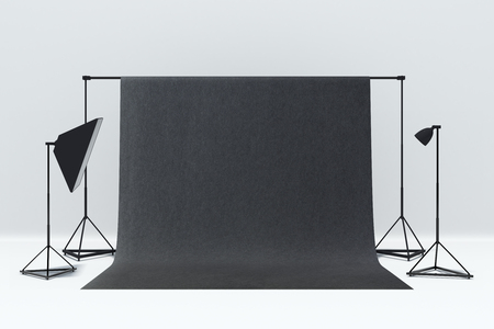 Minimalistic photo studio interior with a mockup background. 3D Rendering