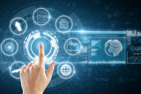 Hand pointing at abstract digital business interface. 3D Rendering  Stok Fotoğraf