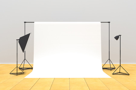 New photo studio interior with a mockup background. 3D Rendering Фото со стока - 100956902