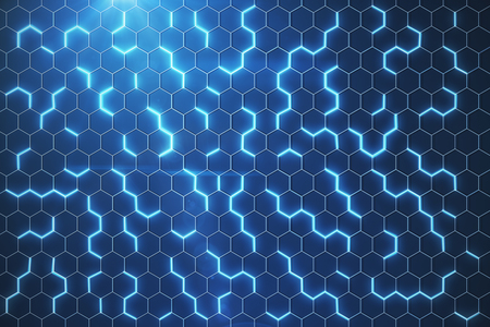 Abstract glowing blue hexagonal background. Technology concept. 3D Rendering  Banque d'images